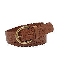 Fossil® Brown Laser Scalloped Jean Belt
