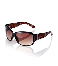 Nine West® Tortoise Plastic Rectangle Animal Print Temple Sunglasses