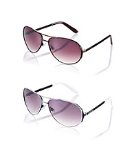 Nine West® Metal Aviator with Enamel Detail Sunglasses