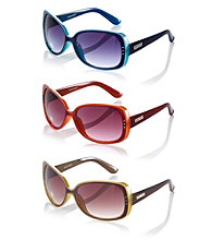 Nine West® Plastic Square Colored Edge Sunglasses