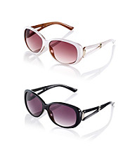 Nine West® Plastic Oval with Metal and Cut-Out Temple Sunglasses