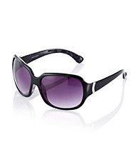 Nine West® Black Plastic Square with Metal Hinge Detail Sunglasses