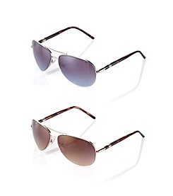 Nine West® Semi-Rimless Metal Aviator Sunglasses