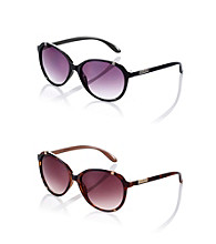 Nine West® Plastic Geometric Frame with Metal Detail Sunglasses