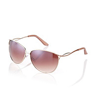 Nine West® Gold Metal Oval with Twisted Metal Temples Sunglasses