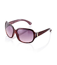 Nine West® Cranberry Snake Plastic Square with Metal Hinge Detail Sunglasses