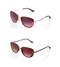 Nine West® Metal and Plastic Frame Cat Eye Sunglasses