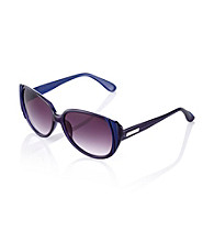 Nine West® Navy Plastic Cat Eye with Ridges Sunglasses