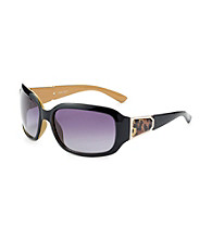 Nine West® Black Plastic Square with Animal Temple Detail Sunglasses