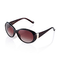 Nine West® Brown Plastic Oval Frame with Stones Sunglasses