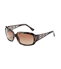 Nine West® Dark Tortoise Bronze Plastic Rectangle Frame with Metal Laser Cutout Temples Sunglasses