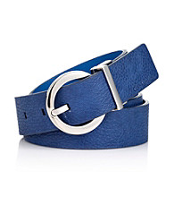 Calvin Klein Turquoise/Navy Reversible Leather Jean Belt