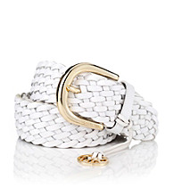 MICHAEL Michael Kors® White Braided Belt With Monogram Charm
