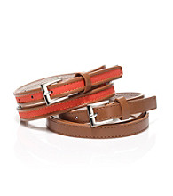 Nine West® Orange Smooth Panel Duo Belts with Leather Piping