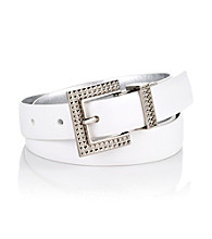 Nine West® White Smooth/Metallic Panel Reversible Belt