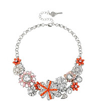 Betsey Johnson® Coral Flower and Gem Frontal Necklace