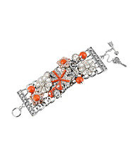 Betsey Johnson® Coral Flower and Gem Wide Toggle Bracelet