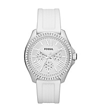 Fossil® Women's Cecile Multi-Function Watch in Stainless Steel with White Strap