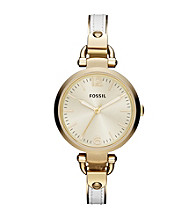 Fossil® Women's Georgia Bangle Watch in Goldtone with White Leather Insert