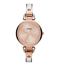 Fossil® Georgia Bangle Watch in Rose Goldtone with White Leather Insert