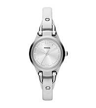 Fossil® Women's Georgia Mini Watch in Stainless Steel with White Leather Strap