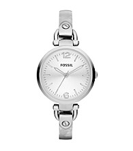 Fossil® Georgia Bangle Watch in Stainless Steel with Pearlized Bracelet