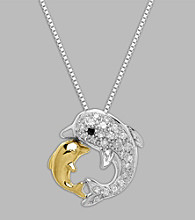 Sterling Silver/14K Gold .10 ct. t.w. Diamond Dolphins Pendant