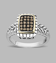 Sterling Silver/14K Gold .20 ct. t.w. Brown Diamond Ring