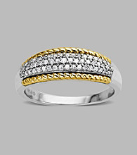 Sterling Silver/14K Gold .20 ct. t.w. Diamond Ring