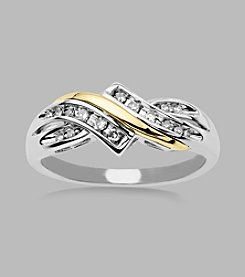 Sterling Silver/14K Gold .10 ct. t.w. Diamond Ring