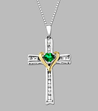 Sterling Silver/14K Gold Created Emerald And .04 CT. T.W. Diamond Cross Pendant