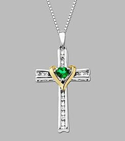 Sterling Silver/14K Gold Created Emerald and .04 ct. t.w Diamond Cross Pendant