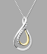 Sterling Silver with 14K Gold .10 ct. t.w. Diamond Drop Pendant