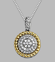 Sterling Silver/14K Gold .20 CT. T.W. Diamond Pendant