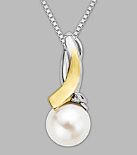 Sterling Silver/14K Gold Freshwater Pearl and Diamond Pendant