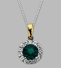 Sterling Silver/14K Gold Created Emerald/Created White Sapphire Pendant