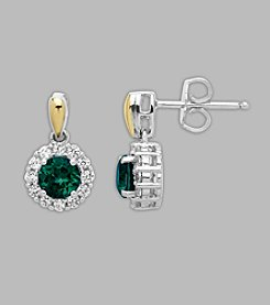 Sterling Silver/14K Gold Created Emerald/Created White Sapphire Earrings