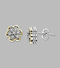 Sterling Silver/14K Gold .04 ct. t.w. Diamond Flower Shaped Earrings