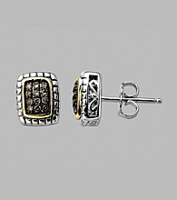Sterling Silver/14K Gold .16 CT. T.W. Brown Diamond Earrings