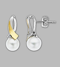 Sterling Silver/14K Gold Freshwater Pearl and Diamond Earrings