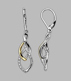 Sterling Silver/14K Gold .10 ct. t.w. Diamond Drop Earrings