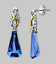 Sterling Silver/14K Gold Created Ceylon Sapphire/Diamond Earrings
