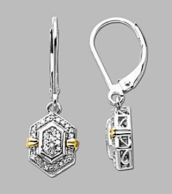 Sterling Silver/14K Gold .20 ct. t.w. Diamond Drop Earrings