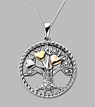 Sterling Silver/14K Gold .08 CT. T.W. Diamond Tree of Life Pendant