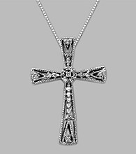Sterling Silver .10 ct. t.w. Diamond Cross Pendant