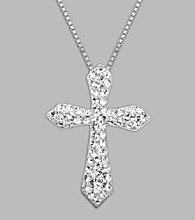 Impressions White Crystal Cross Pendant in Sterling Silver