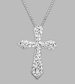 Impressions® White Crystal Cross Pendant in Sterling Silver