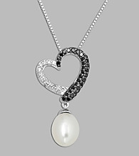 Freshwater Pearl and Black/White Diamond .25 ct. t.w. Pendant in Sterling Silver