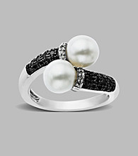 Freshwater Pearl and Black/White Diamond .22 ct. t.w. Ring in Sterling Silver