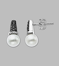 Freshwater Pearl and Black/White Diamond .21 ct. t.w. Earrings in Sterling Silver